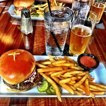 , IN, United States. Lamb burger with feta/olive and cucumber sauce ...