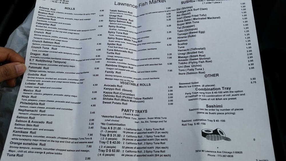 Menu as of 5 yelp for Lawrence fish market menu