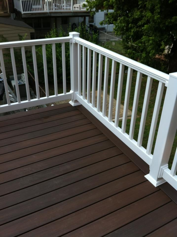 Veranda armor guard deck with a white vinyl fairway railing yelp - Vinyl railing reviews ...