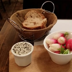 bread and radishes with olive butter
