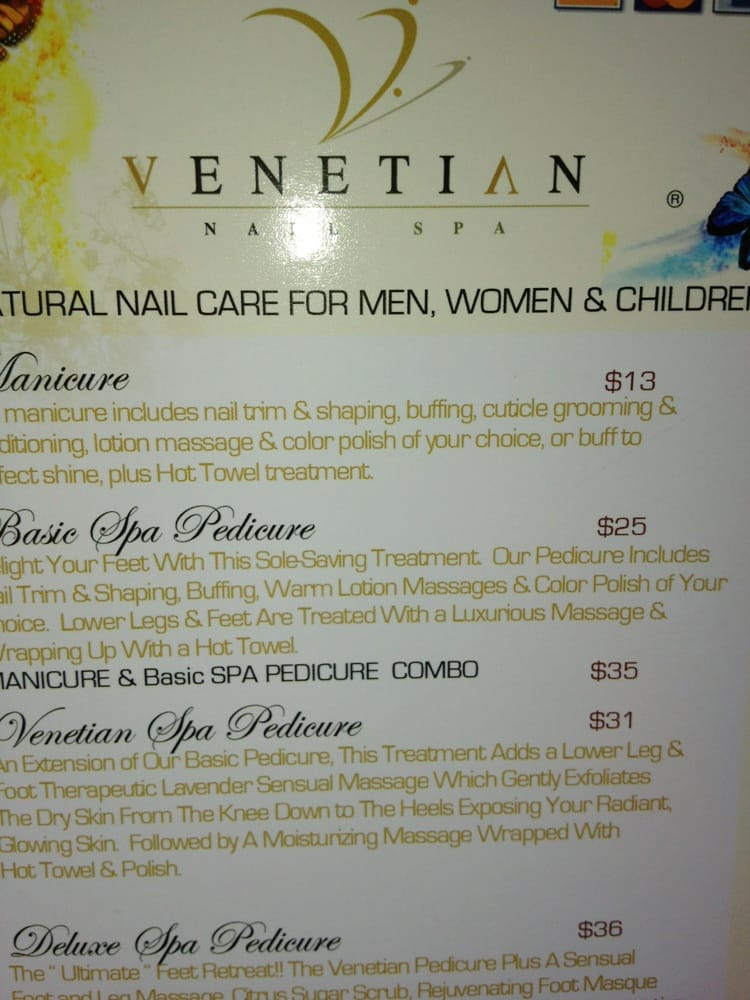 Nail spa menu images for A signature hollywood salon