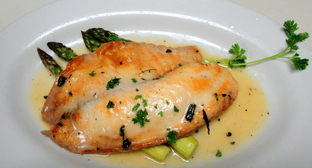 Fresh Tilapia Fillets with Sage and White Wine Sauce
