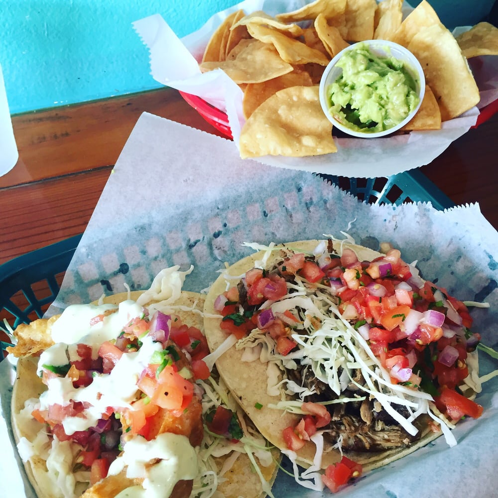 Baja fish and kalua pork tacos with chips guac salsa so for Fish market maui