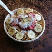 ... strawberry, blueberry, apple juice, almond milk w/ granola, hemp seeds