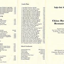 China Dynasty Restaurant Menu Front Cranston Ri
