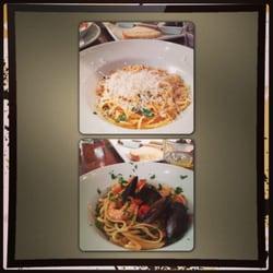 Lobster bisque and prawns pasta.