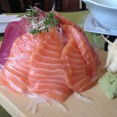 Salmon & Tuna Sashimi plate on raddish salad