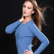 Ribbed Round Neck Cashmere Sweater for Women