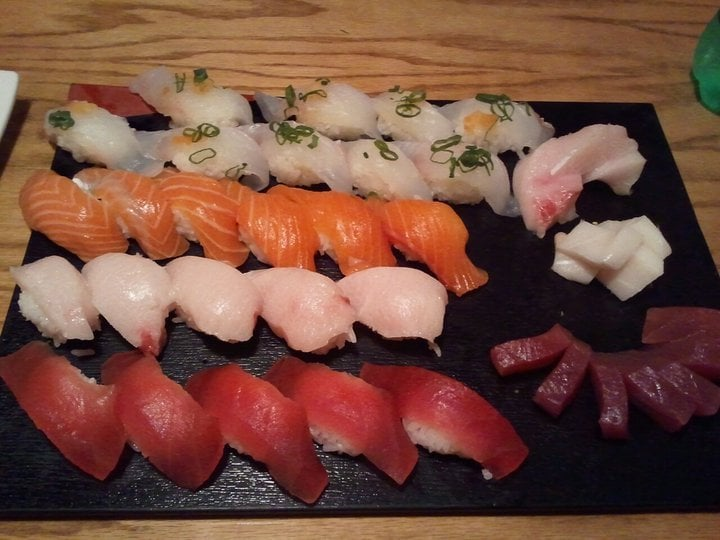 Nigiri halibut special fish salmon yellow tail and for Yellowtail fish sushi