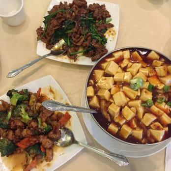 ... , CA, United States. Chicken with broccoli, shredded beef, mapo tofu