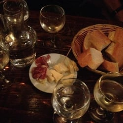 L'Art Brut Bistrot - Paris, France. Wine cheese salami and French bread. Is there anything else?!
