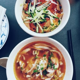 Up: noodles in sesame sauce. Bottom: a small noodle soup with chicken. Both are amazing!
