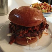 Pulled pork burger! A beef patty on…