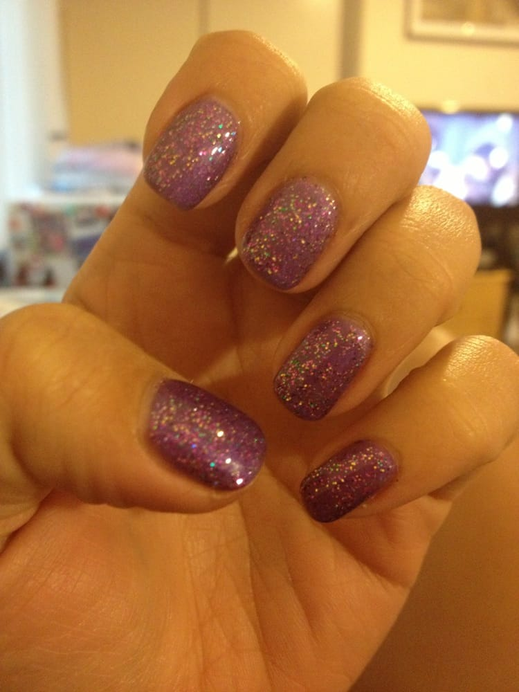 JD Nails - Shellac nails purple with glitter - San Jose, CA, United