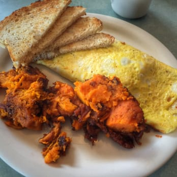 ... . Chili Cheese Omelette with wheat toast and SWEET POTATO home-fries