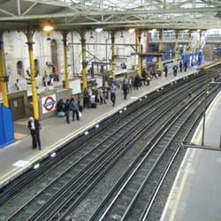 Looking down at the Underground platforms and tracks