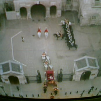 Horseguards from the air over the Royal Wedding coach