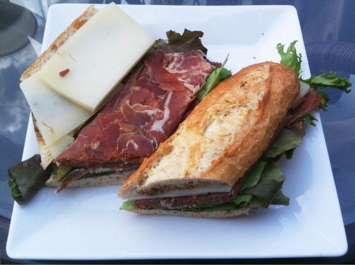 , United States. Spanish Sandwich with Jamon Serrano, Manchego cheese ...