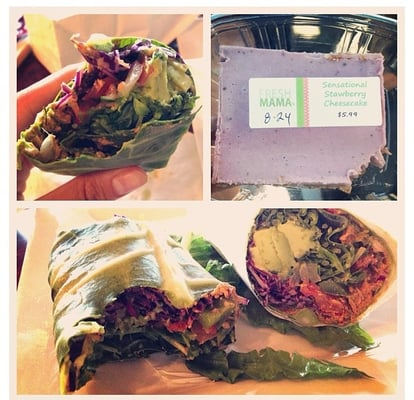 "Fresh Mama - Baja wrap with collard green outside instead of tortilla and raw ""strawberry cheesecake. So delicious! - Las Vegas, NV, Vereinigte Staaten"