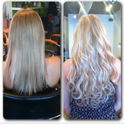 Tite Ends Hair Salon - Before and After Microbead Weft Extensions.  No glue, braids, heat, harshy adhesive. Easy removal. - West Hollywood, CA, Vereinigte Staaten