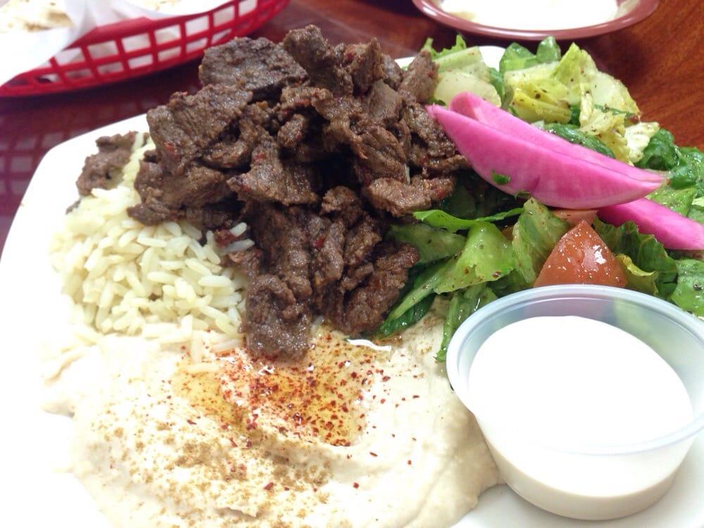 Beef Shawarma Over Rice Beef Shawarma Plate $8.99