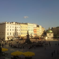 View of the Glowny Rynek from Cafe Szal on the second floor of the Cloth Market.