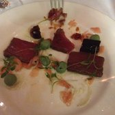 (half way through) Seared tuna, sweet soya jelly, wasabi peas and ginger. YUM!