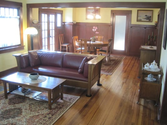 We were able to pull the living room and dining room for Living room and dining room together