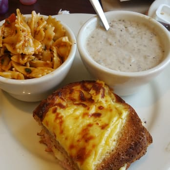 ... States. Croque Monsieur, Pasta Salad, and Cream of Mushroom Soup