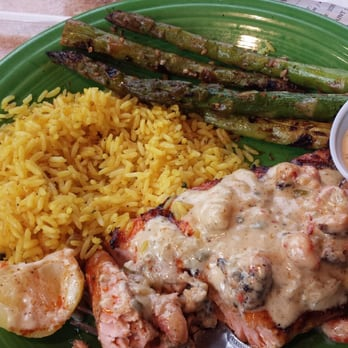 ... TN, United States. Salmon topped with crawfish and grilled asparagus