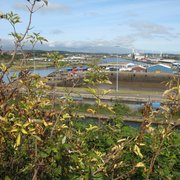 Barry docks seen from headland just…