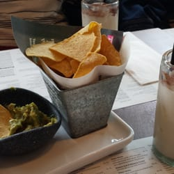 Guacamole and chips. Horchata for the…