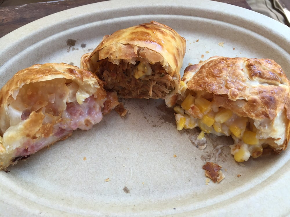 empanadas (left to right: ham and cheese, chicken, and corn and cheese ...