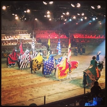 No self-respecting bachelor would come to Medieval Times (Buena Park, CA) if they know it is an all-male jousting revue. The only female (food servers not considered as part of the show) is the supposedly princess with a squeaky voice.