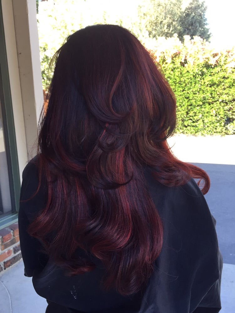 Burgundy Red Full Balayage With Dark Brown Base Yelp