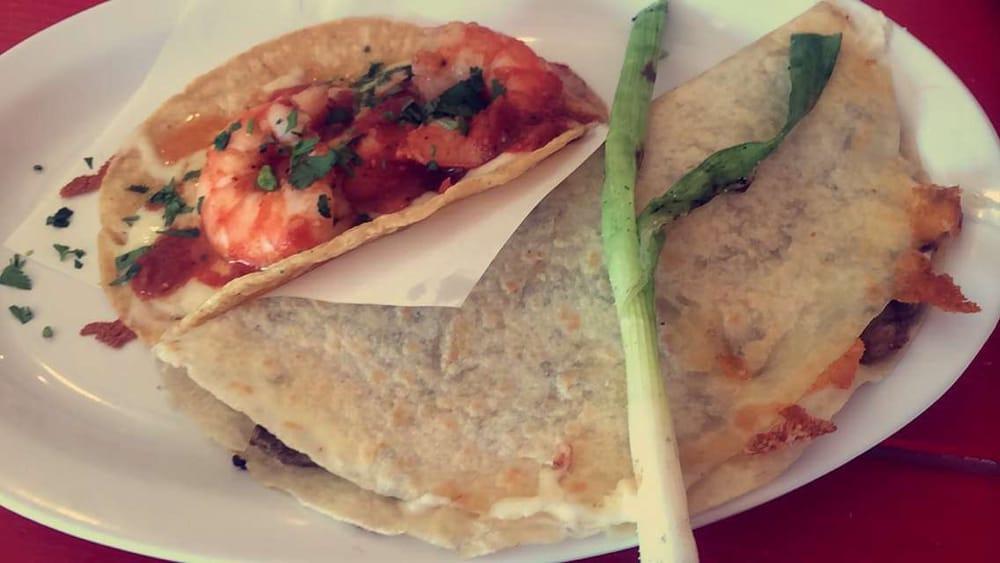 ... Los Angeles, CA, United States. Shrimp taco and carne asada vampiro