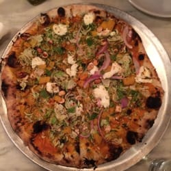 ... Brussels sprouts, red onion, hazelnut and goat cheese pizza. Dee-lish