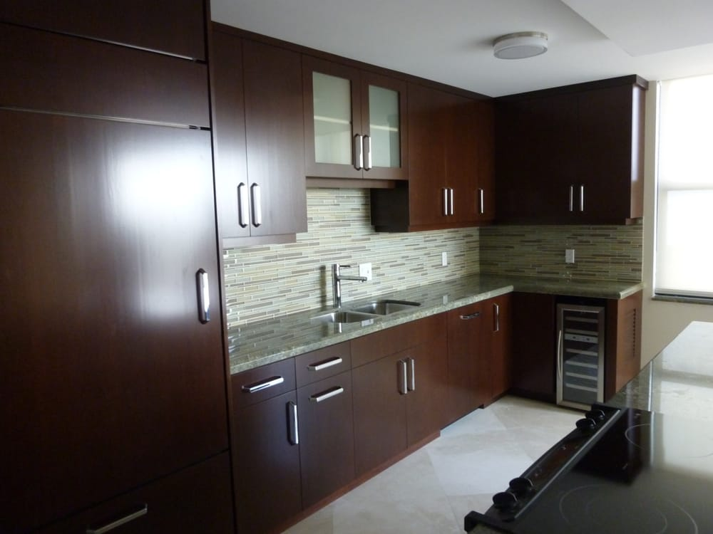 Contemporary Kitchen Cabinets Featuring Cherry Brown