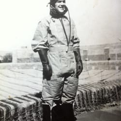 Harvey Nicholas Edwards during WWII dressed in flight gear.