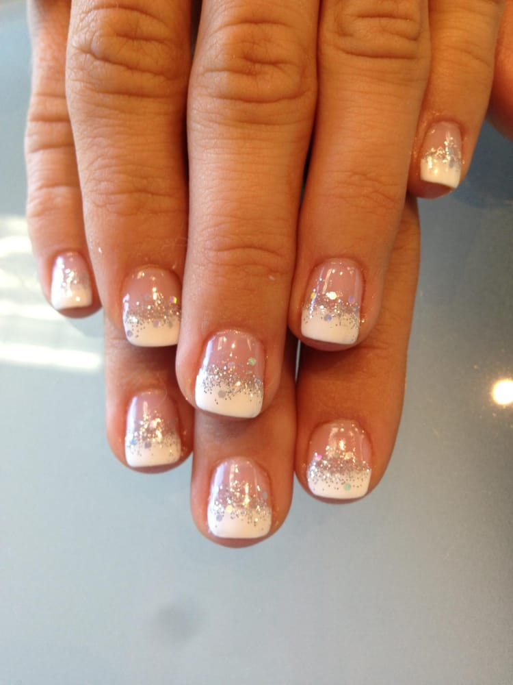 french manicure gel nails with glitter images. Black Bedroom Furniture Sets. Home Design Ideas