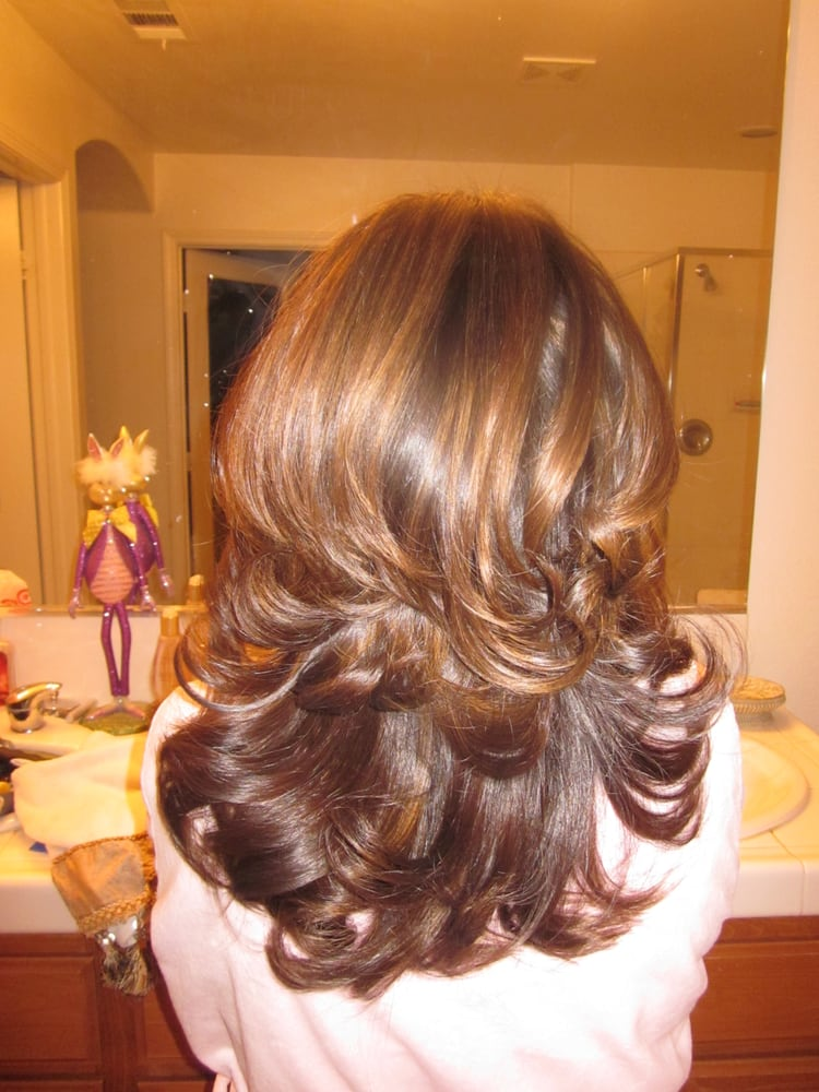 ... States. Caramel highlights on medium brown hair with layered cut
