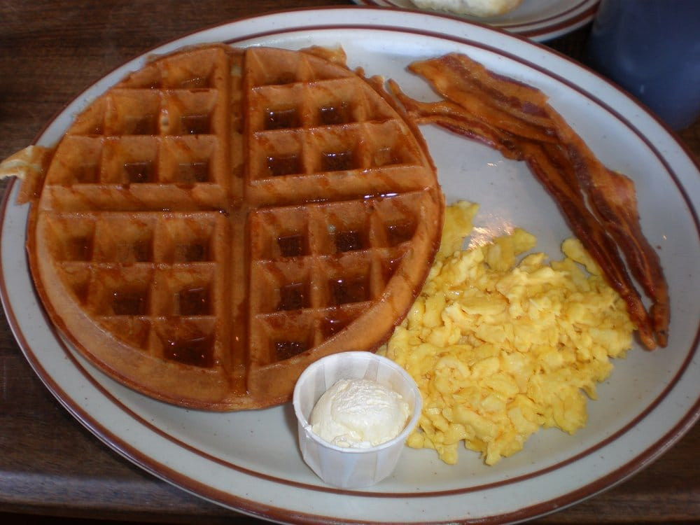 waffles & eggs with bacon. | Yelp