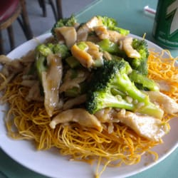 Chicken & Broccoli over pan fried noodles for $8.00