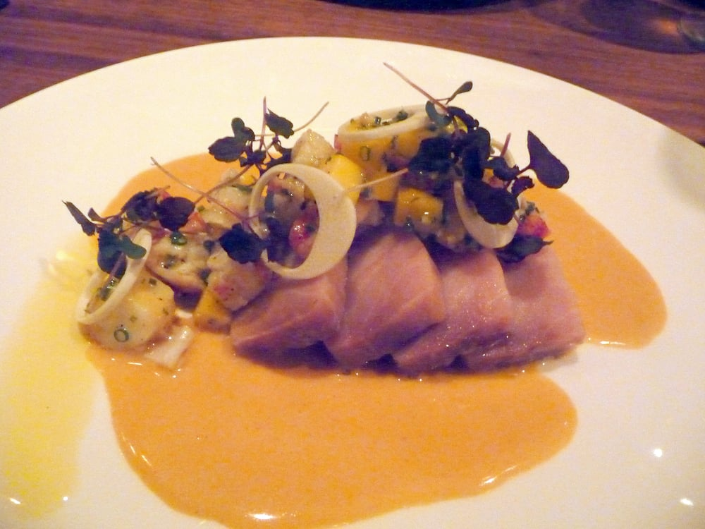 ... oil poached pacific striped marlin, lobster-mango + lemon grass salad