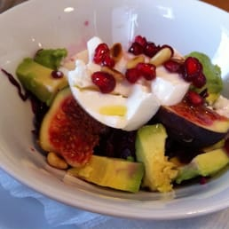 Red cabbage salad with sheep cheese, figs, walnuts, pomegranates
