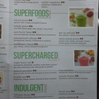 Tropical Smoothie Cafe Lunch Menu