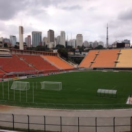 The museum is part of the Estádio do Pacaembu. Here's a view of the stadium from one of the galleries in the museum