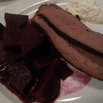 Two bland slices of liver, served with beets and cheesy horseradish.  So disappointing.