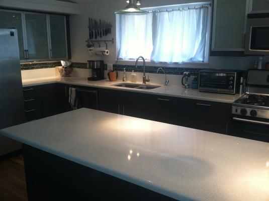 Charming Ikea Kitchen Quartz Countertops Reviews   Ikea Kitchen With White Quartz  Countertops, Subway Tile