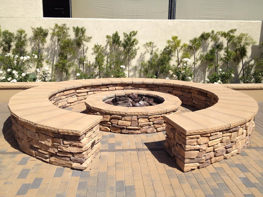 Orange County Hardscape Stacked Stone Firepit And Seating